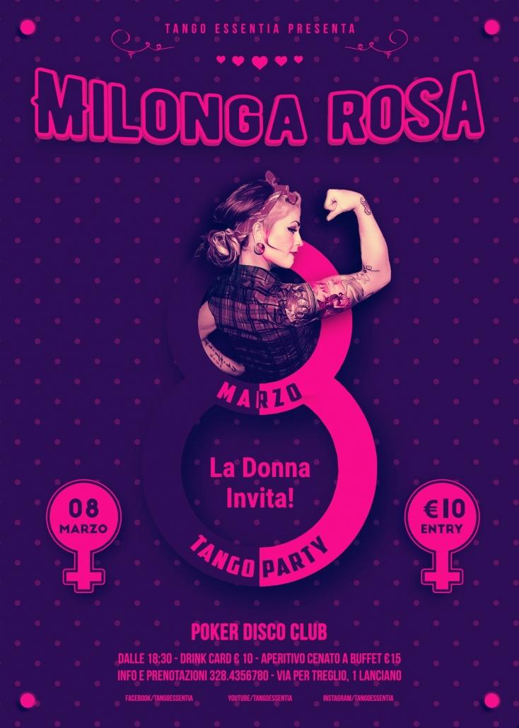 Festa della donna. Milonga Rosa al Poker Disco Club.